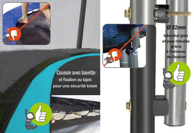 Trampoline Punchi 430 Bleu Atoll + Pack Echelle et Couverture