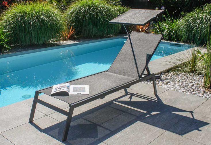 Chaise longue en aluminium et textilène et pare-soleil Toscane