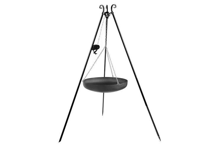 trépied en acier peint noir et wok acier brut + poulie et chaines inox