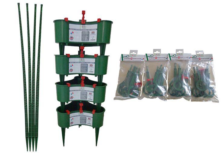 Tuteurs 150 cm en polypropylène recyclé vert avec réserve et attaches