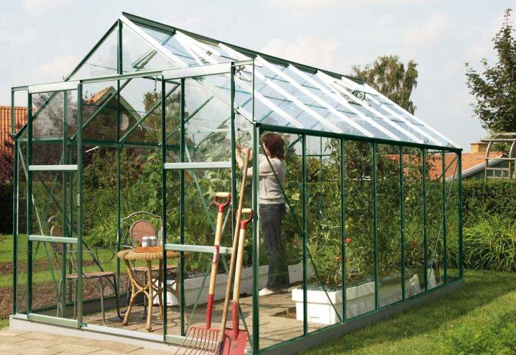 Serre de jardin en verre laqué vert URANUS 9900 Onagre