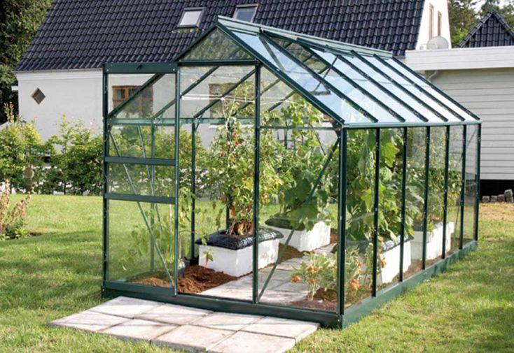 serre de jardin en aluminium vert et en verre trempé 3 mm 4 m de longueur