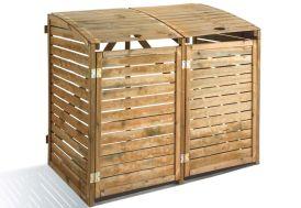 abri poubelle double Dioica en bois traité fermeture à crochet