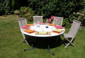 Lot de 12 Tables Résine Rondes Pliantes Ambre D152 cm