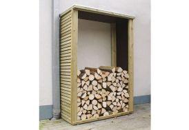 abri-bûches bûcher en bois traité autoclave + panneaux bakélisés 125 x 60 cm