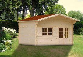 Abri de Jardin en Bois Jasmin 44 mm + Mezzanine (470x470cm)