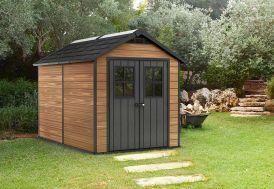 Abri de jardin en résine imitation bois 6,5 m²  2,9 x 2,3 m