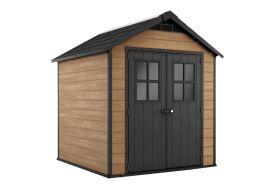 abri de jardin en PVC imitation bois woodium toit double pan 5,1 m2