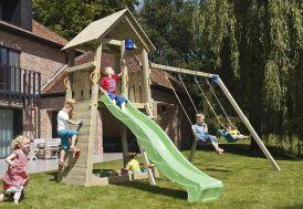 aire de jeux pour enfants en bois avec toboggan et portique