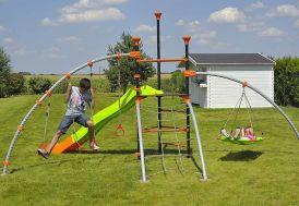 aire de jeux en acier traité anticorrosion 5 agrès pour enfants dès 3 ans