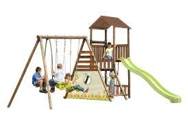 aire de jeux en bois pour enfants à partir de 3 ans toboggan balançoires