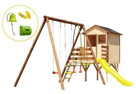Aire de jeu en bois traité et bois brut avec maisonnette
