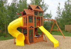 Aire de jeux géante en bois de cèdre avec portique, 2 toboggans et cabanes
