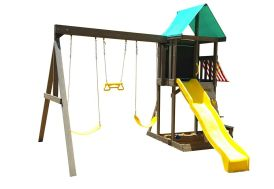 Aire de jeux en bois de cèdre avec toboggan et portique balançoires Kidkraft