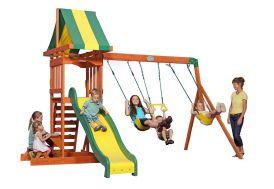 portique en bois aire de jeux avec toboggan et balançoires