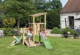 aire de jeux en bois cascade avec 2 plateformes et 2 toboggan