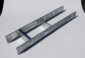 Pied de Poteau pour Carport Gardenas Platine 9 x 9 cm Ancrage H