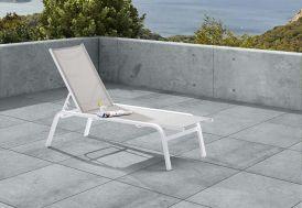 Bain de Soleil Week-End Aluminium et Texilène Blanc/Gris 180x66cm