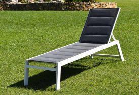 Bain de soleil XL en aluminium et textilène blanc et gris