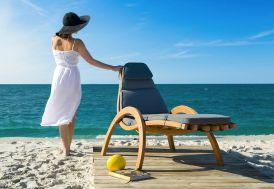 bain de soleil en bois traité autoclave avec coussin 185 cm