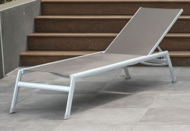 bain de soleil 1,90 m transat de jardin inclinable en aluminium