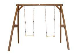 Portique balançoire double en bois hemlock marron