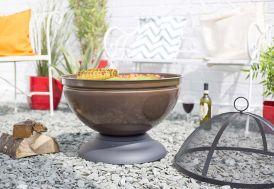 Brasero Globe Marron + Grille de Cuisson