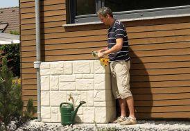 Cuve Récupération d'Eau Pluie Brick Murale 300L Sable