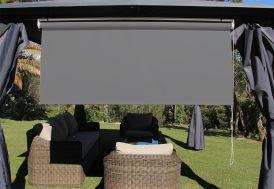Brise-Soleil gris foncé Orientable en Polyester pour Pergola 170 x 160 cm déroulante chaînette