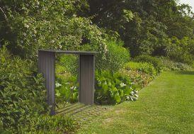 Bûcher pour Abri de Jardin en Métal Look Bois Vieilli