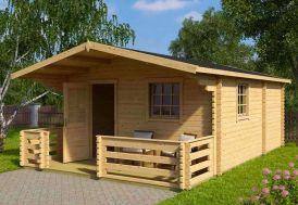 bungalow d'extérieur en bois avec terrasse 680 x 420 cm