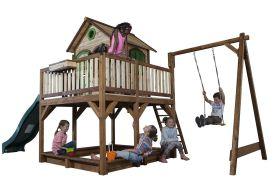 Maison Enfant Bois Liam 2 + Toboggan + 1 Balançoire