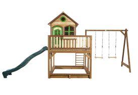 maisonnette d'enfant en bois avec toboggan, balançoire et bac à sable