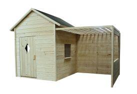 Cabane en bois brut avec tonnelle non couverte pour enfant