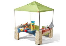 tonnelle de jardin pour enfant avec coin cuisine et table d'eau et de sable