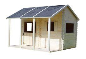 maisonnette pour enfant avec son porche en bois brut prêt à peindre