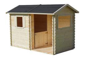 cabane en bois brut avec madriers 16 mm à emboiter