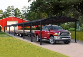 Carport Palram en aluminium et polycarbonate 12,7 m pour voiture et remorque