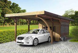 Carport + Abri de Jardin en Bois Traité Autoclave (4x7m)
