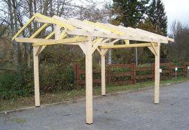 Carport en bois traité sans couverture avec préparation pour tuiles 5 x 3,5 m