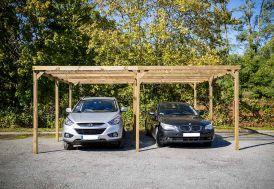 Carport Bois Autoclave 2 Voitures Toit Plat PVC