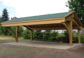 carport en bois 3 voitures toiture shingle vert