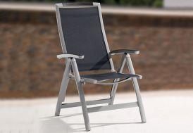 Chaise de Jardin Alu Pliable 6 Positions Trento Gris Graphite (lot de 6)