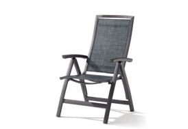 Chaise de Jardin Alu Pliable 6 Positions Trento Gris Anthracite (lot de 6)