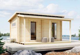 Sauna d'Extérieur en Bois d'Épicéa Brut avec Terrasse Luoman Kihu 13 m²