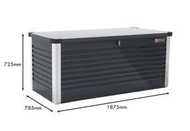 Coffre de Rangement Design en Métal PatioBox 187x78,5x72cm (4 Coloris)