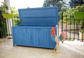 Coffre de Jardin en Bois Lasuré Bleu 127 x 55 cm