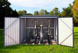 Coffre de Rangement Vélos en Acier Galvanisé 3,5 m² Chalêt-Jardin
