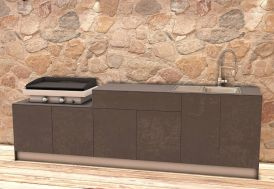 Cuisine Extérieure en Bois et Aluminium 282 x 61 cm Urban noire 3 meubles rangement ustensiles découpe évier espace plancha
