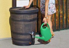 récupérateur d'eau de pluie imitation tonneau en bois 130 L